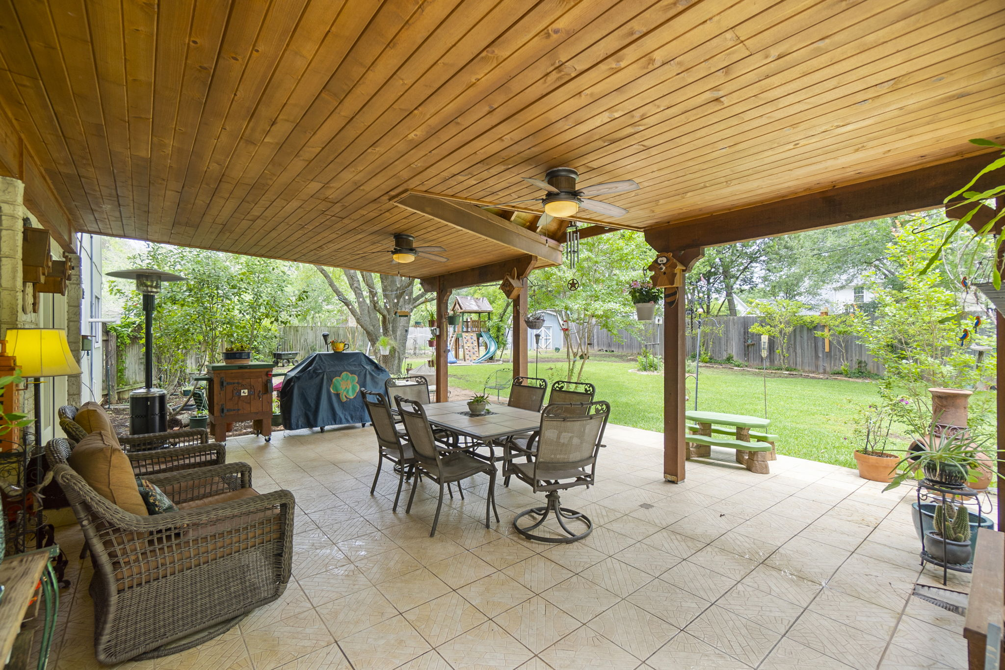 Custom wood covered patio