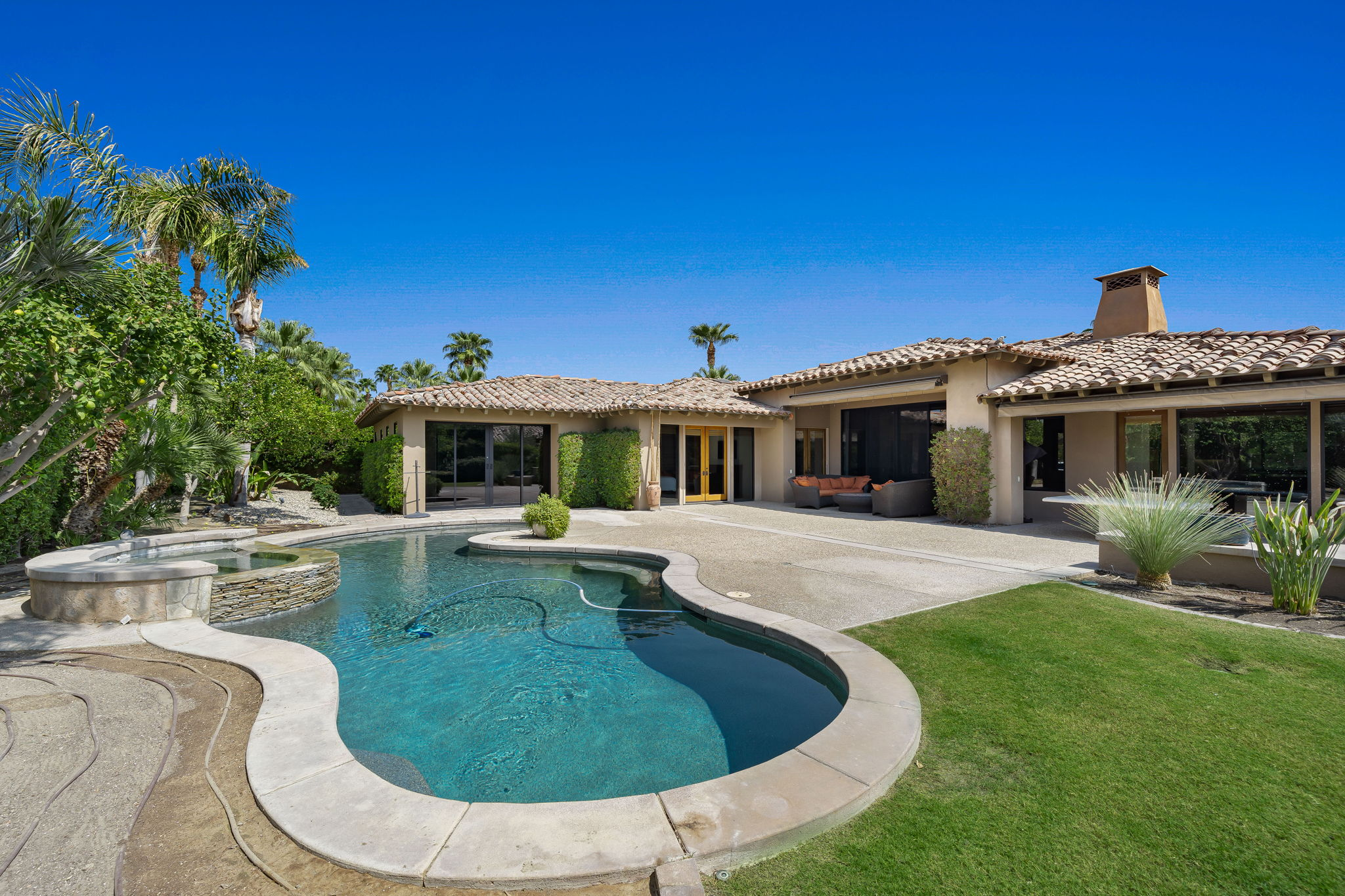 North Facing Pool/Spa, Lawn and Home