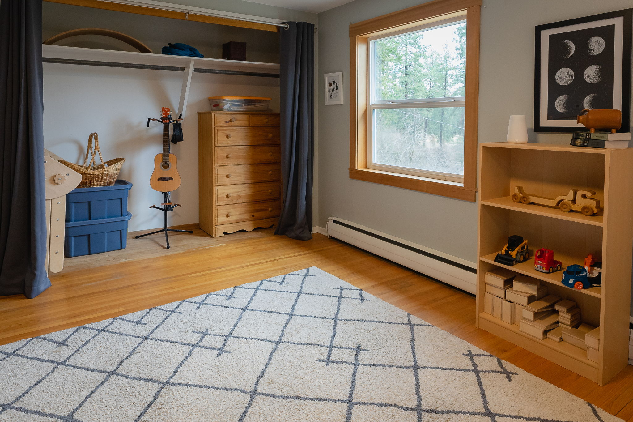 Closet space and forest views in bedroom #3