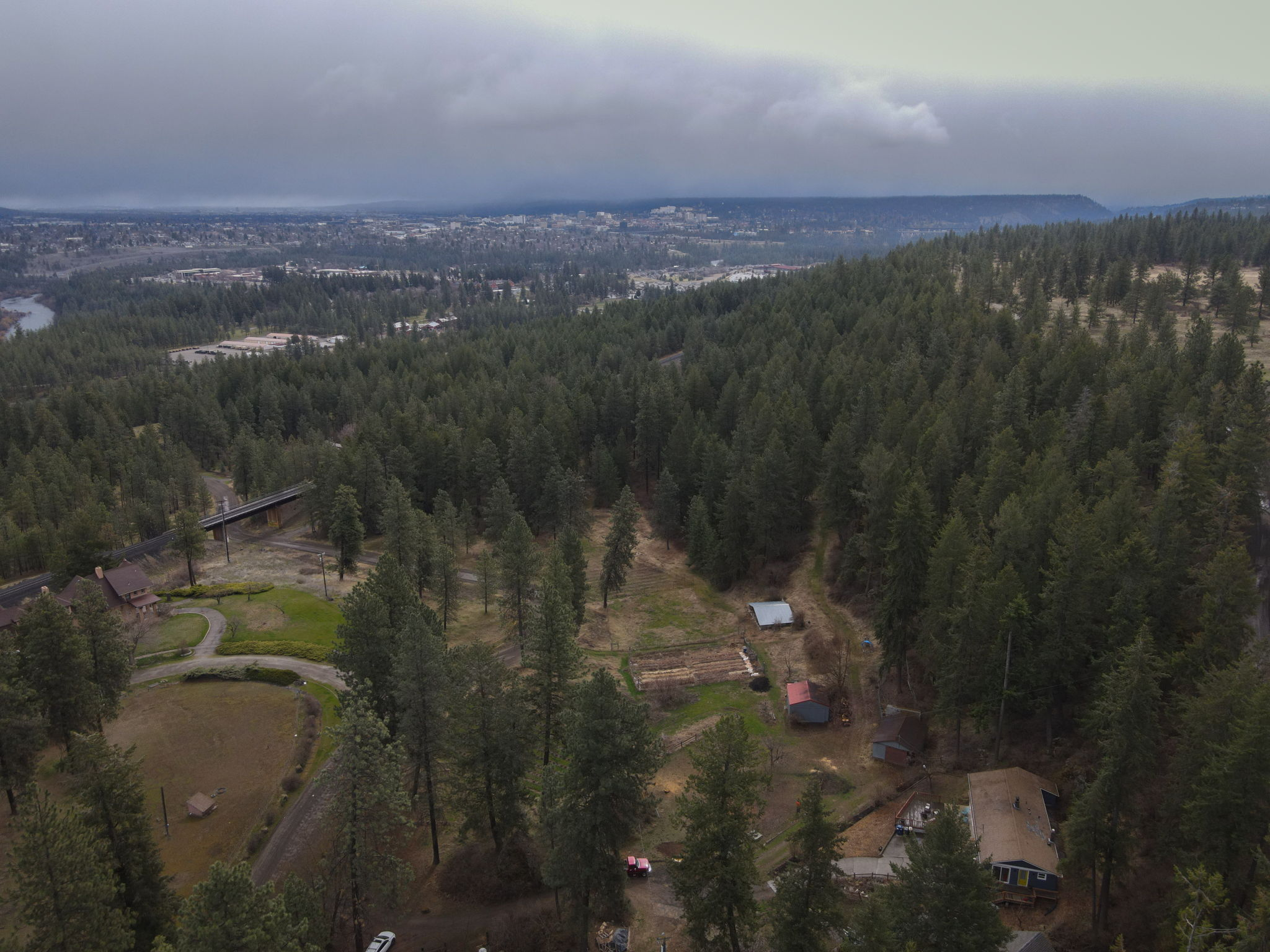 Aerial Views of Property, Outbuildings, and Acreage