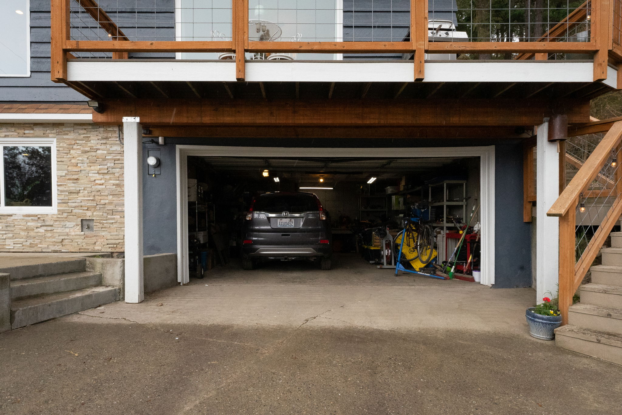 Large Attached Garage with Automatic Opener.  Detached garage with room to park a truck.