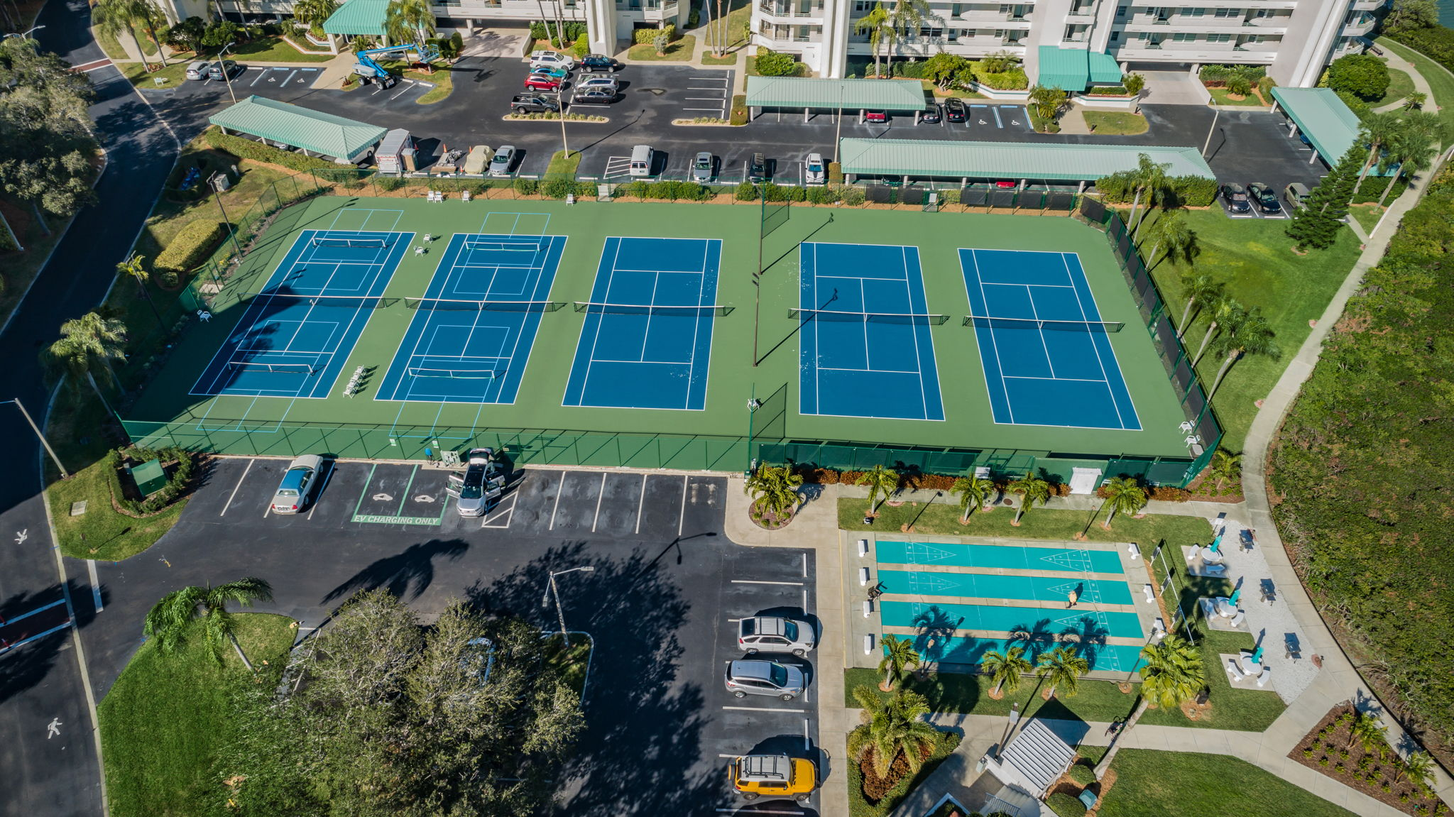 Pickelball, Tennis, Shuffleboard and Grilling Areas