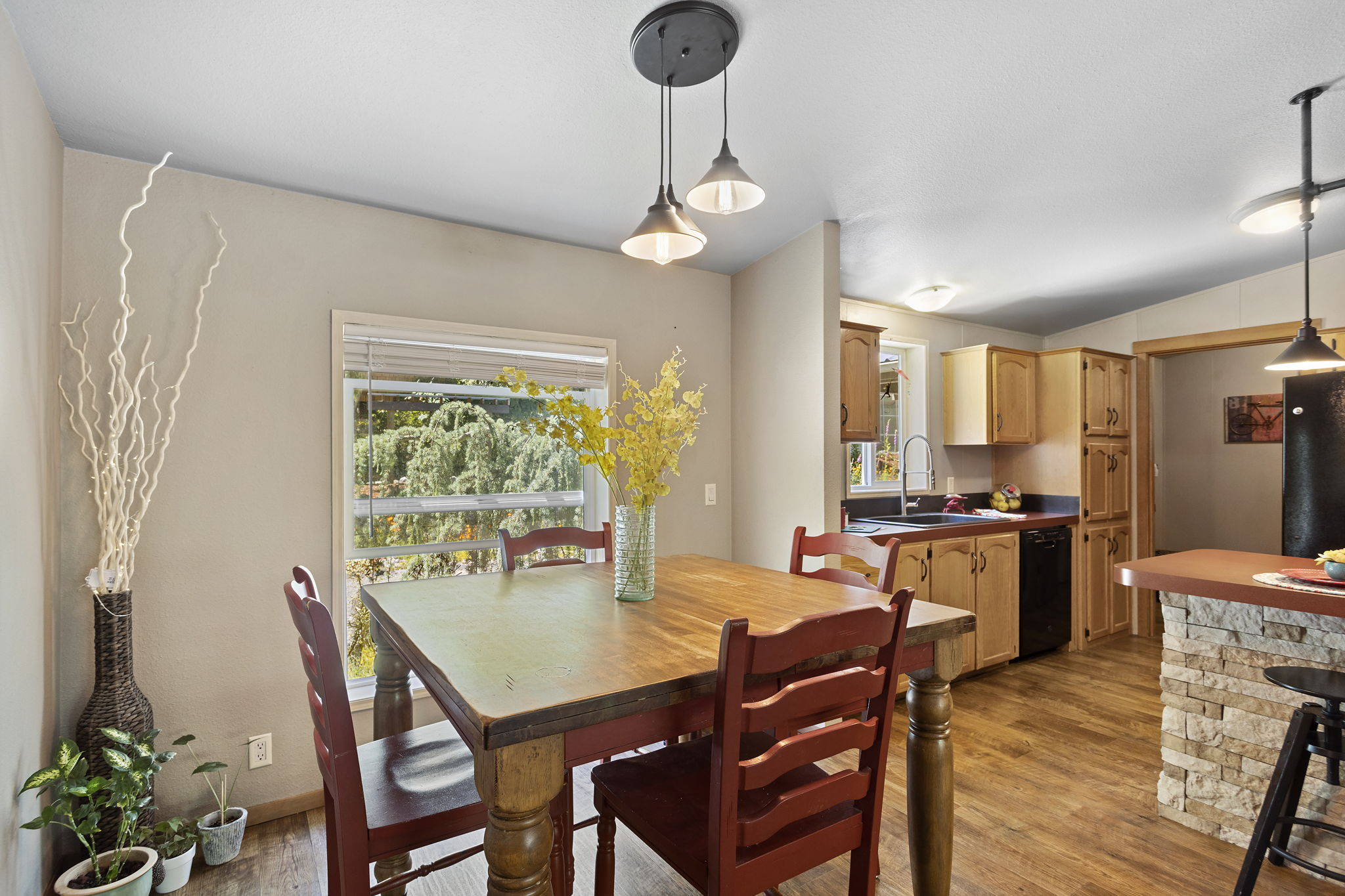 Large dining room area off of kitchen and living room make for easy entertaining