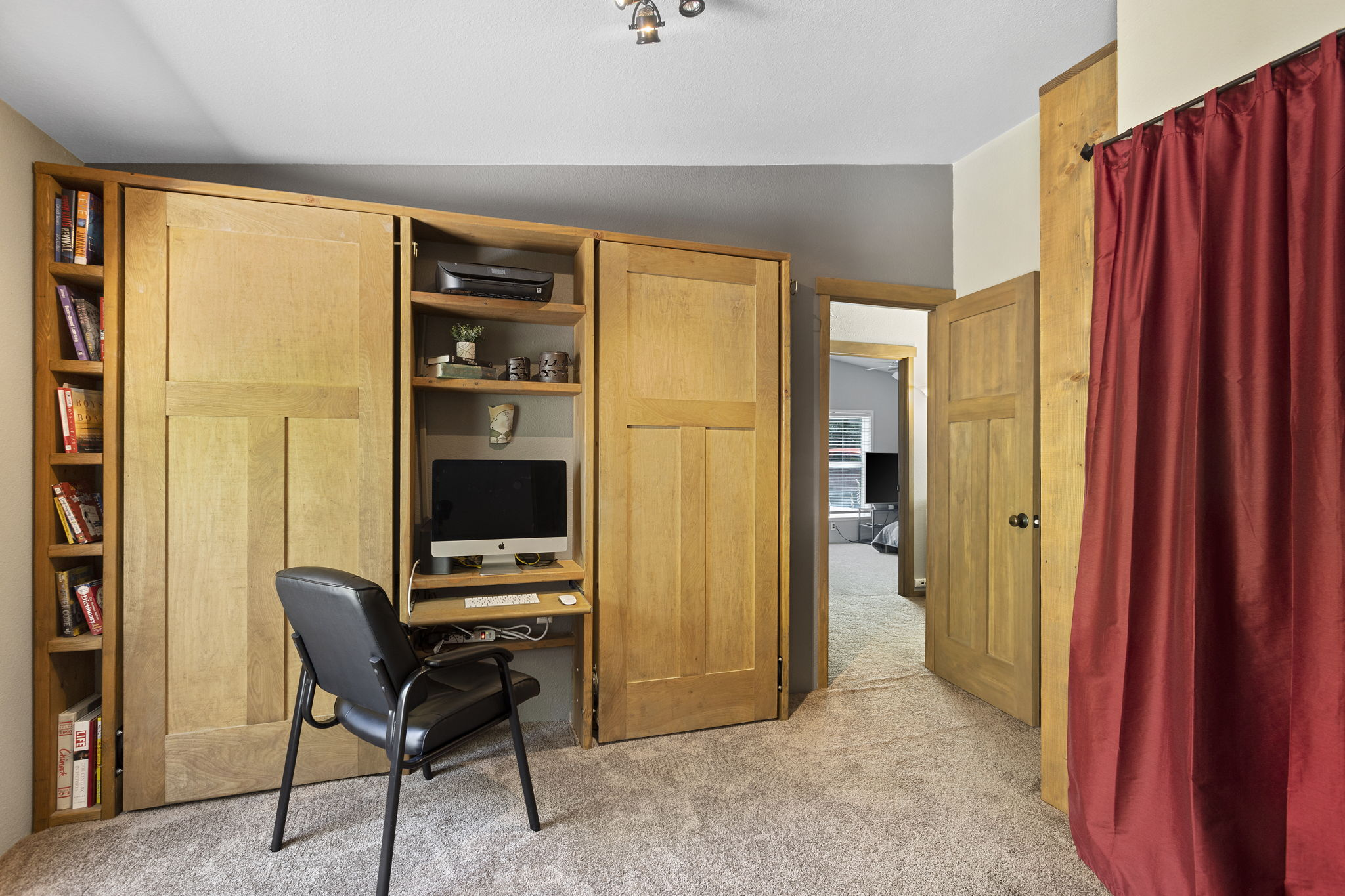 Custom made office and shelving unit to include 2 twin murphy beds!