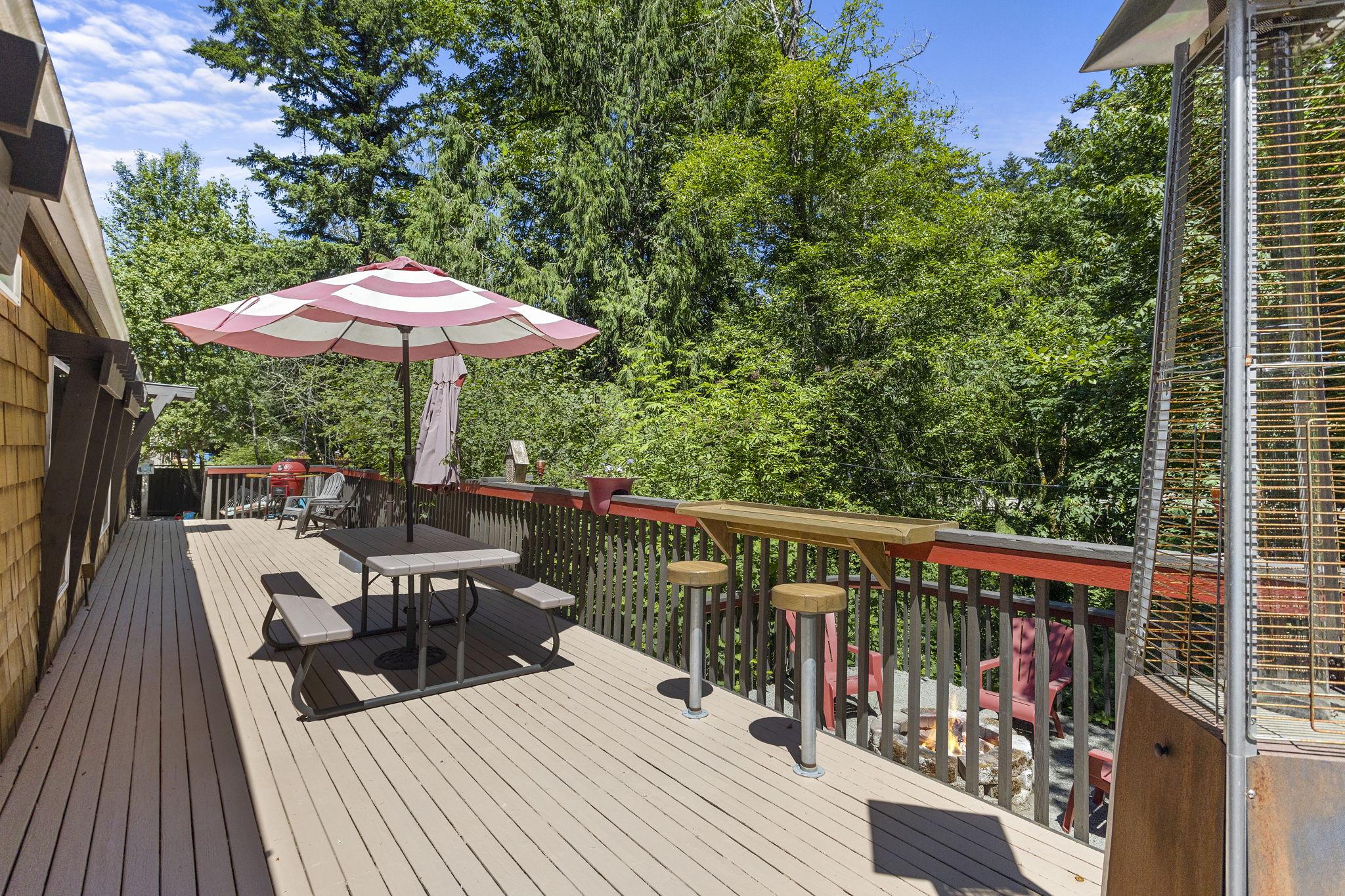 HUGE back yard deck off of living room! Back up to lush landscaping and firepit!