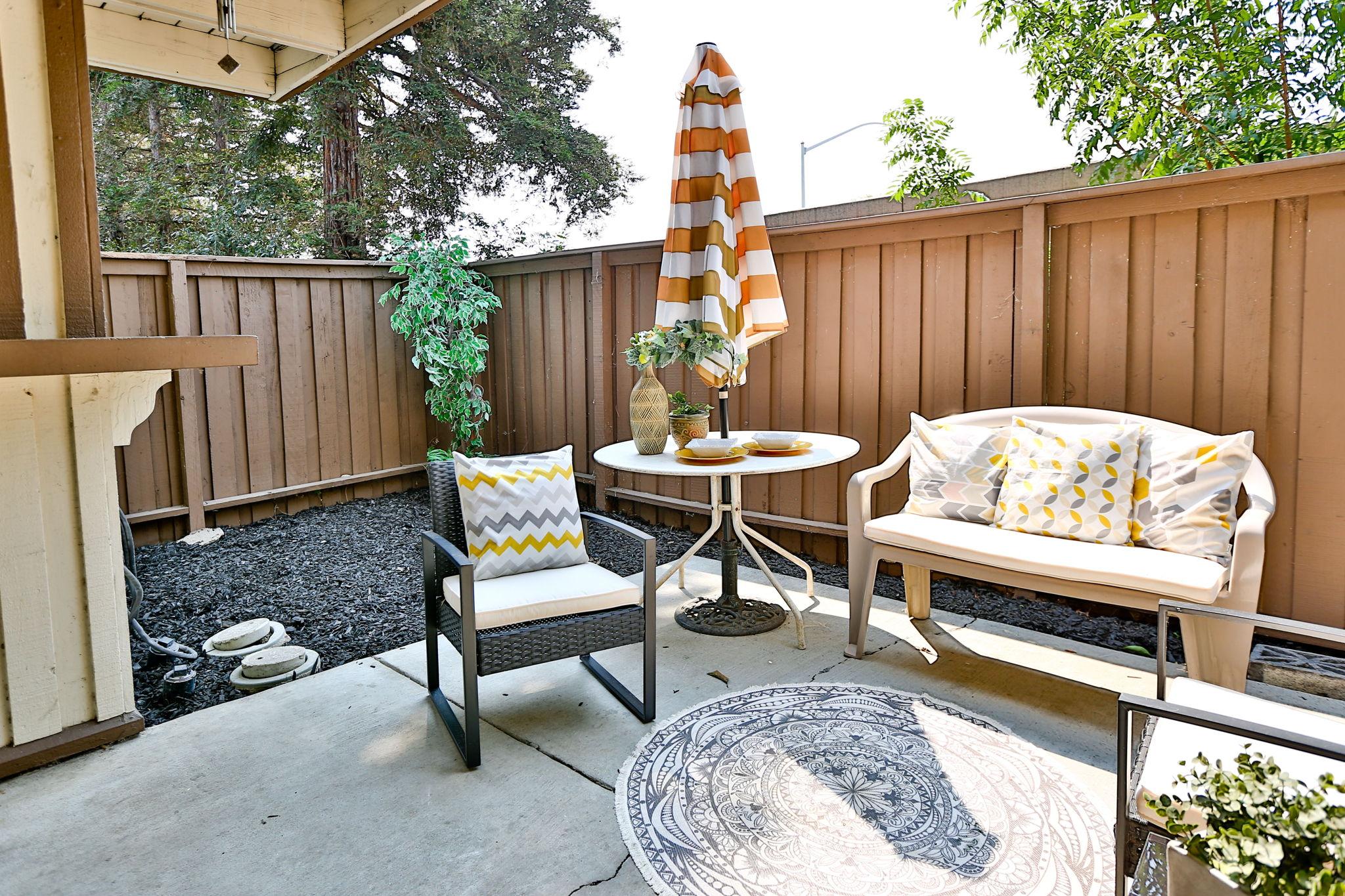 Slider to patio seating and storage closet