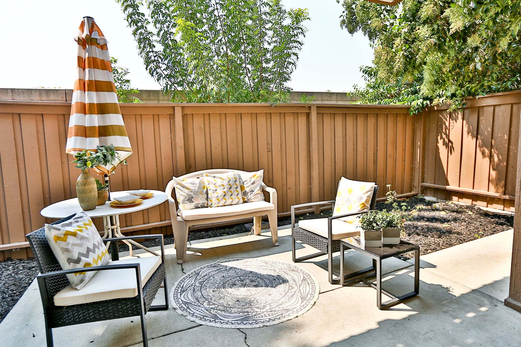 Spacious patio with room for small garden