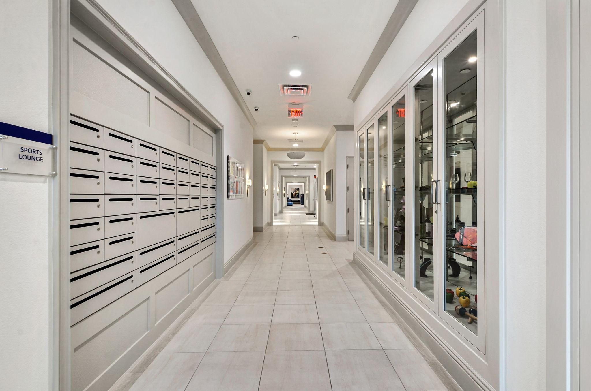 Hallway with homeowner display case