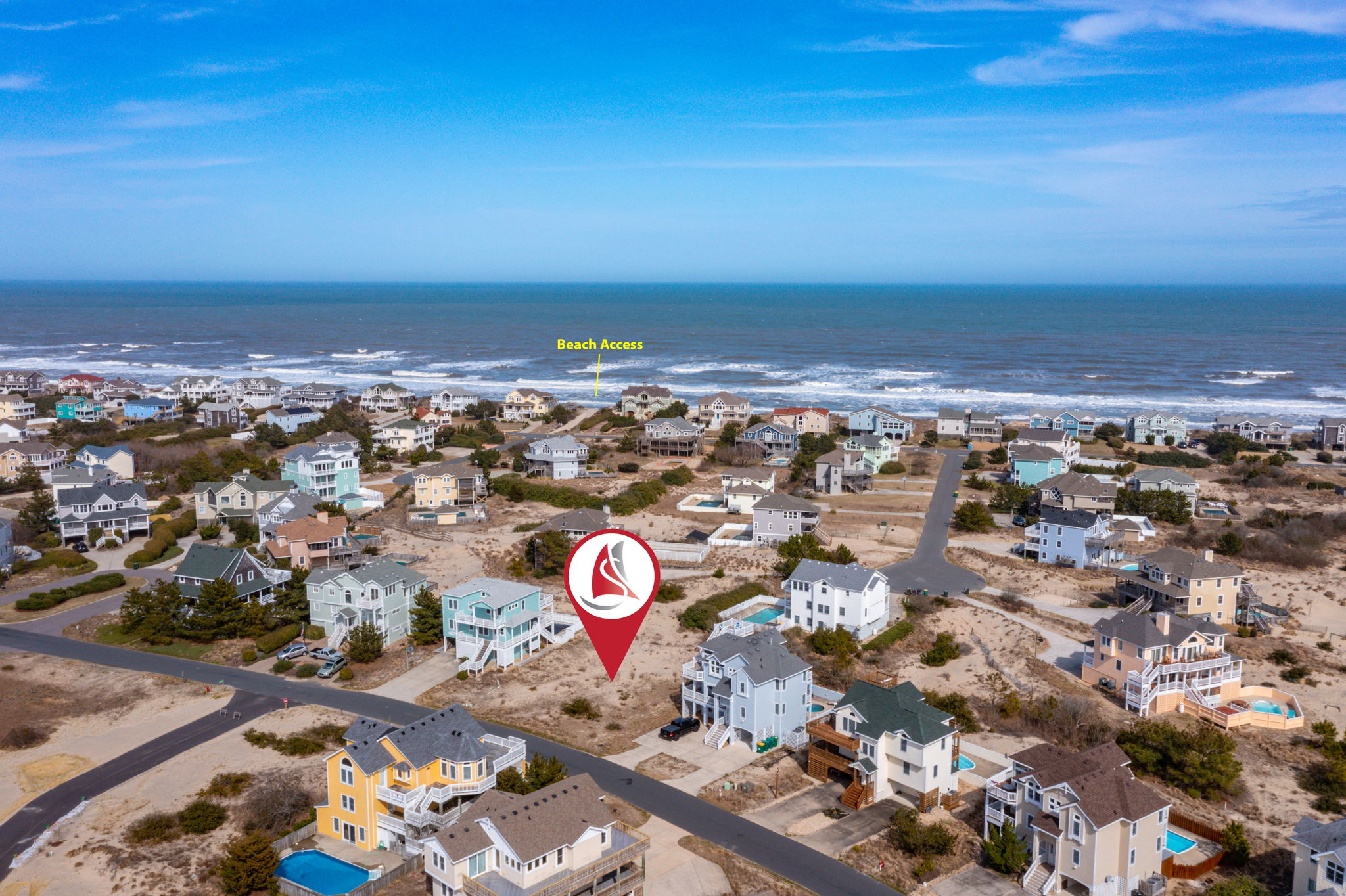 1219 Windance | Aerial 06 - Marker with Beach Access
