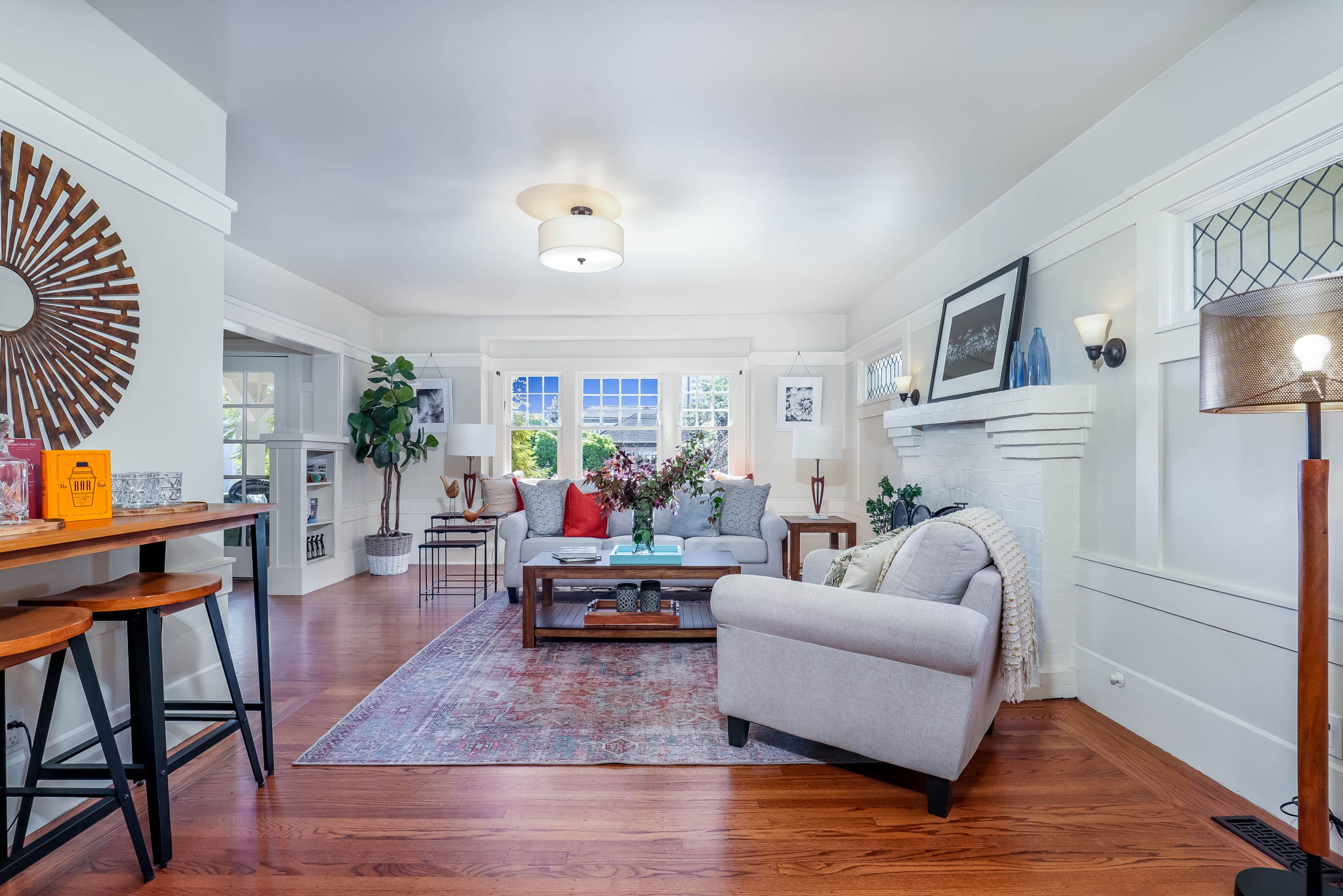 Living Room with Rich Hardwoods