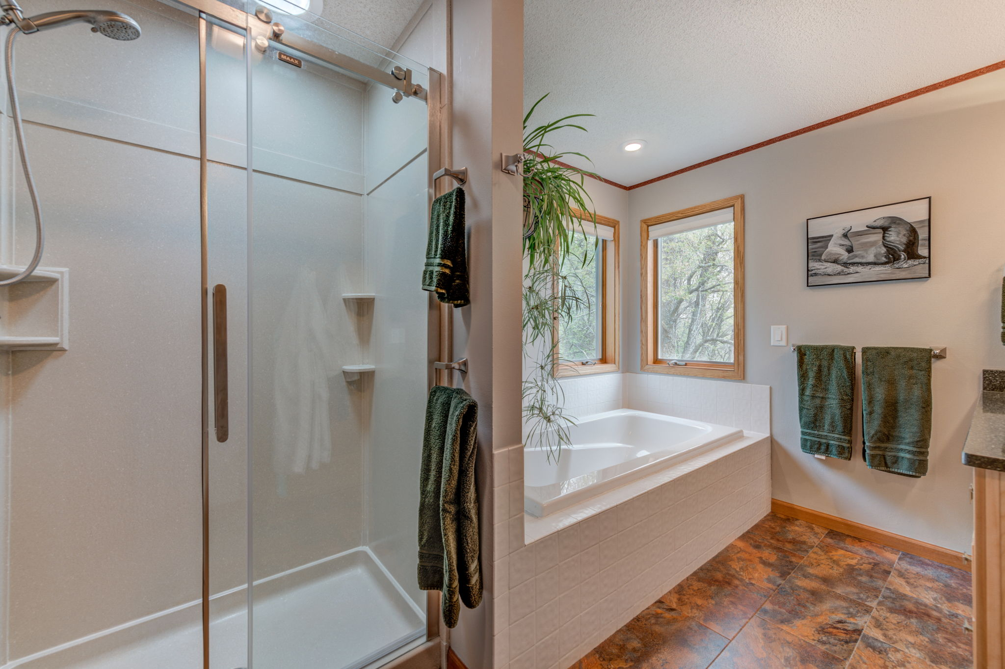 Master bath with beautiful swanstone shower and separate tub