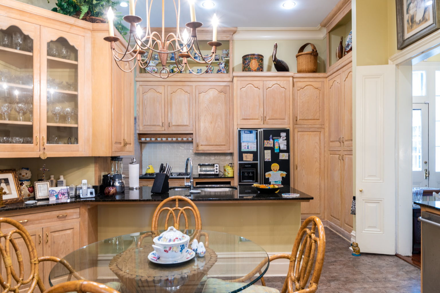 With a breakfast nook, bar, and great storage.