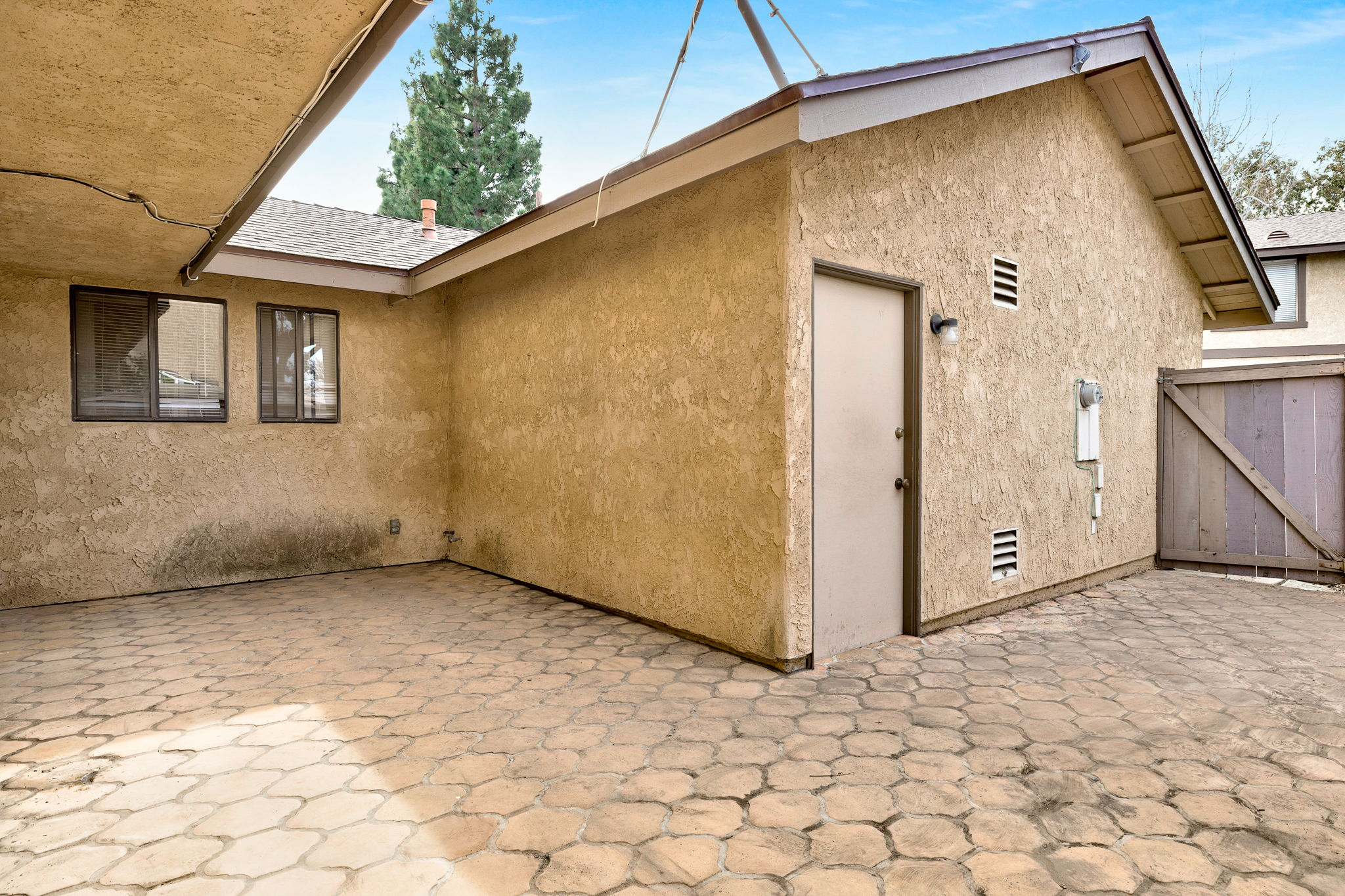Patio with access to garage