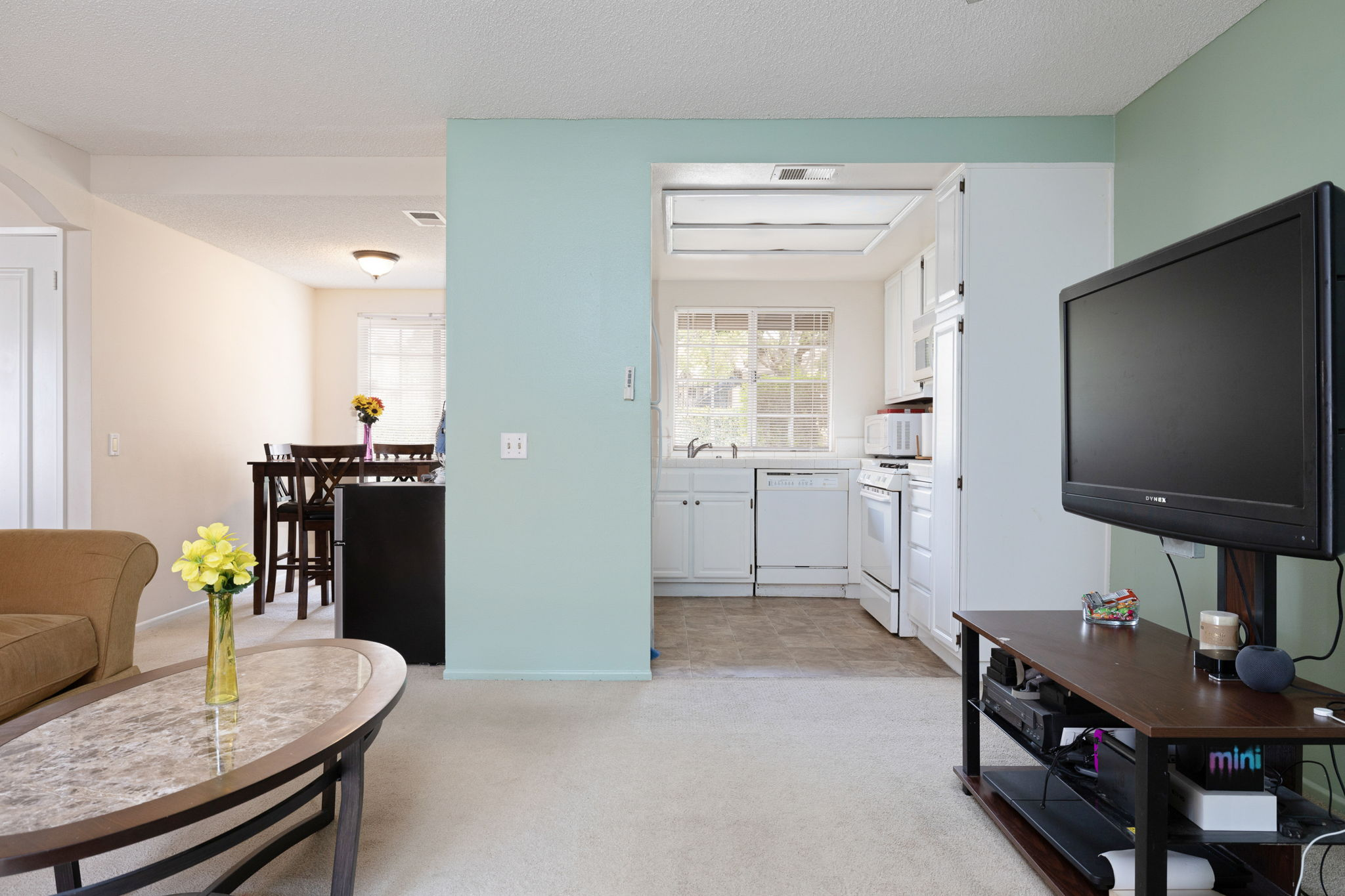 Light, Bright kitchen, den and dining areas