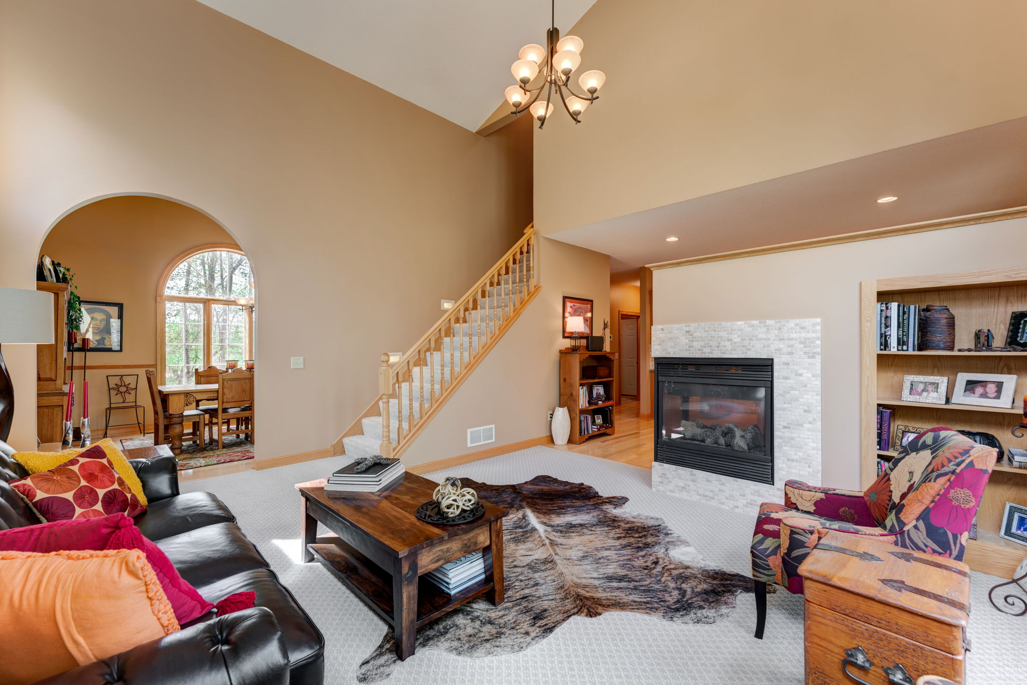 Open Great Room with double sided fireplace