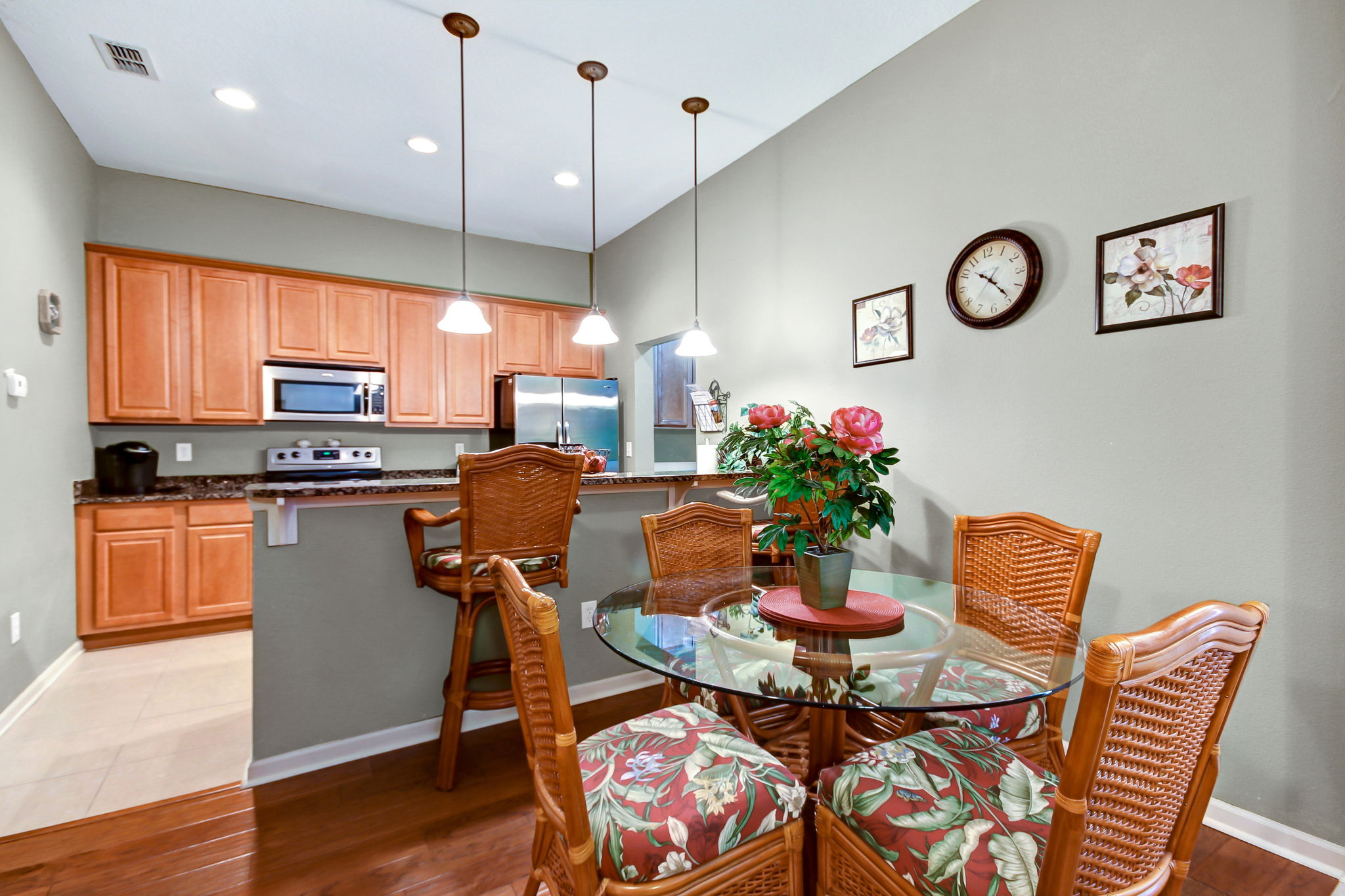 Dining area conveniently located between kitchen and living area