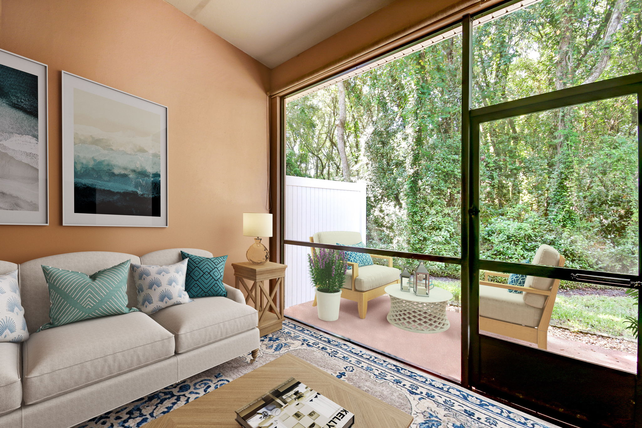 A screened lanai faces a delightful private wooded landscape