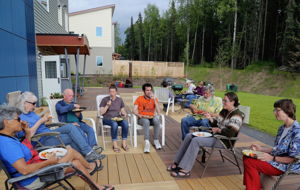 South-facing common house patio is great place to eat or hang out together