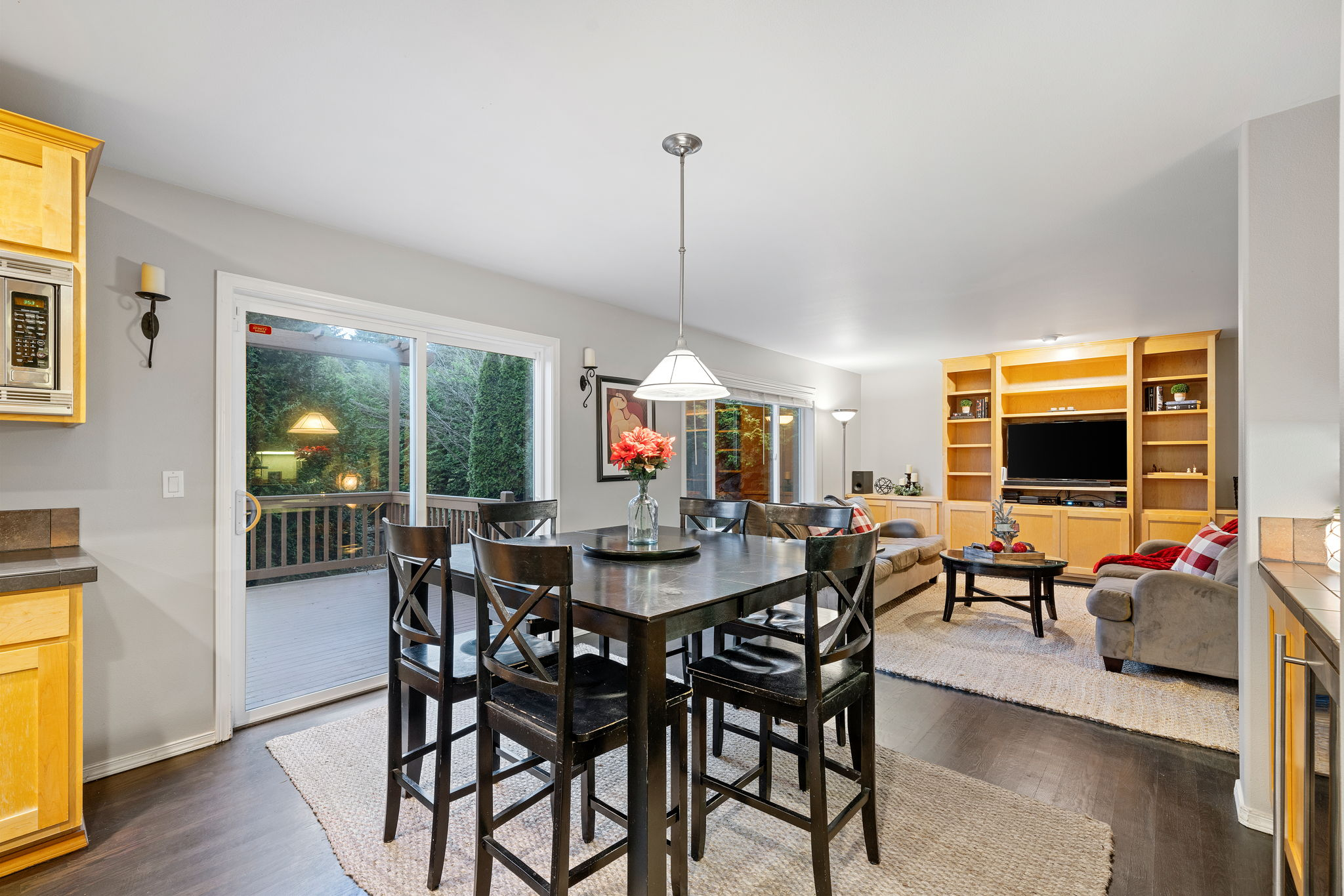 Dining room slider leads to large deck and fenced yard.Perfect for those summertime BBQs!