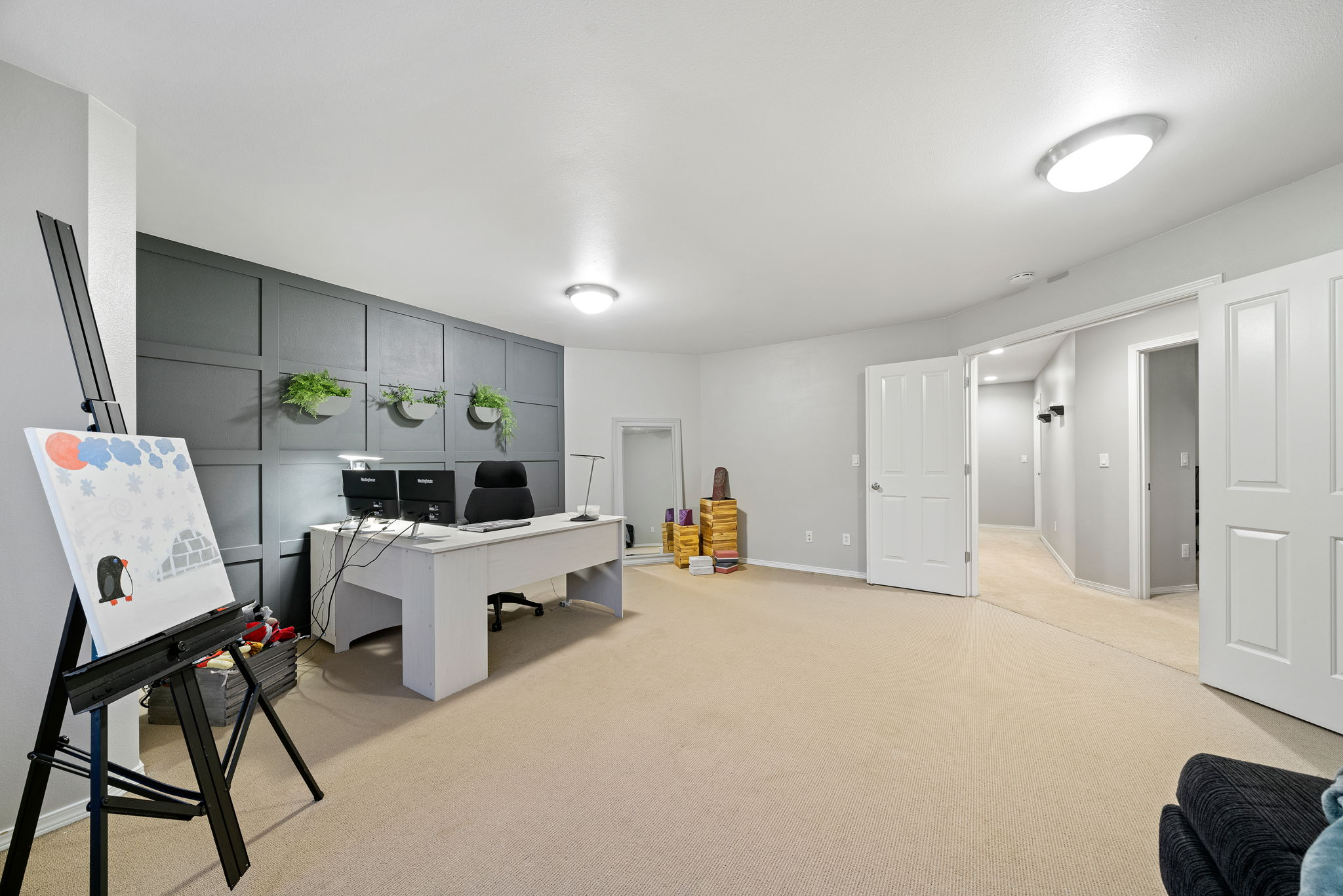 Upstairs has a very large open bonus/flex space. Great space for a movie theater room, kids play room, additional office or even designated area for online learning! You choose!