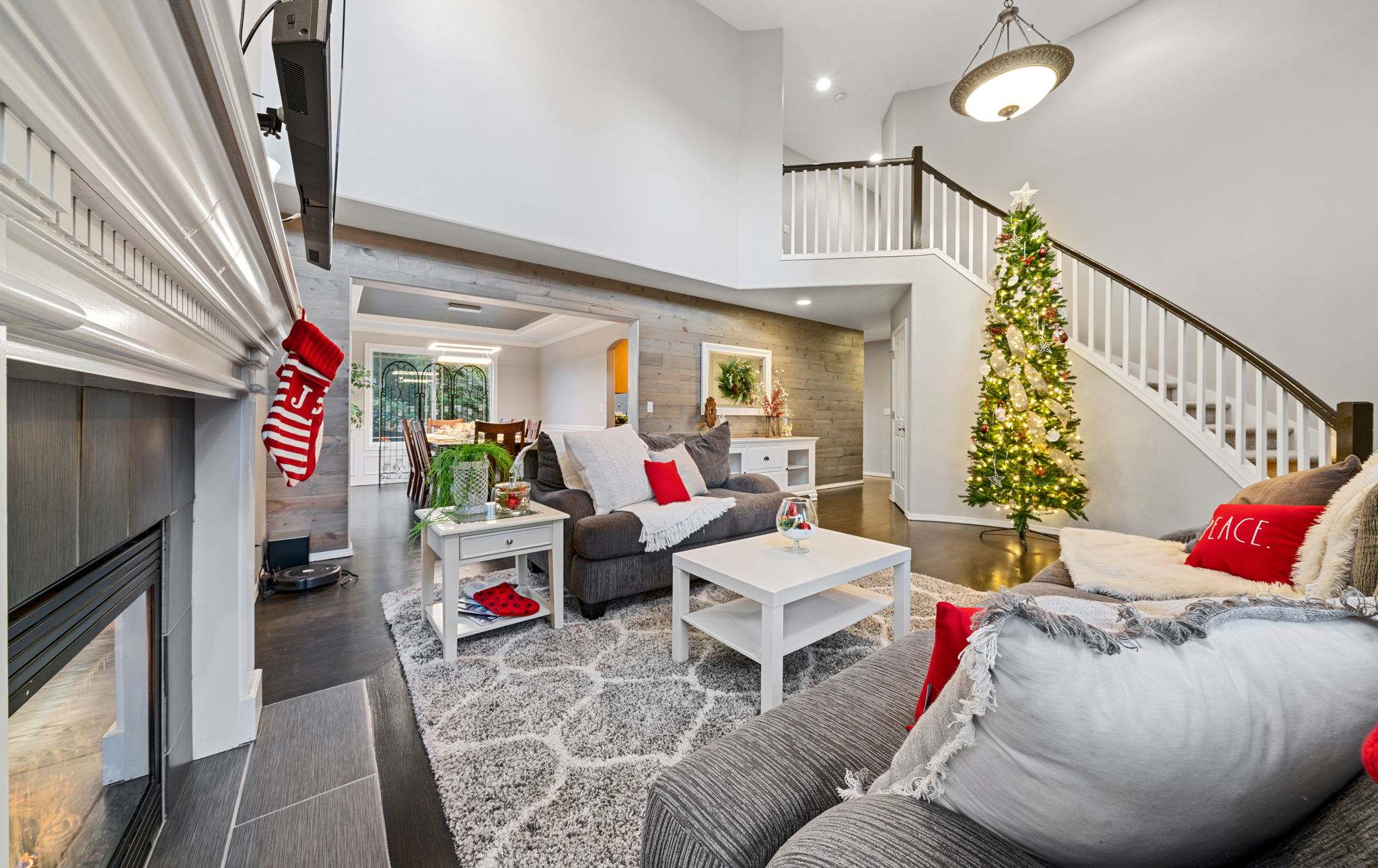 Large cozy living area with gas fireplace!