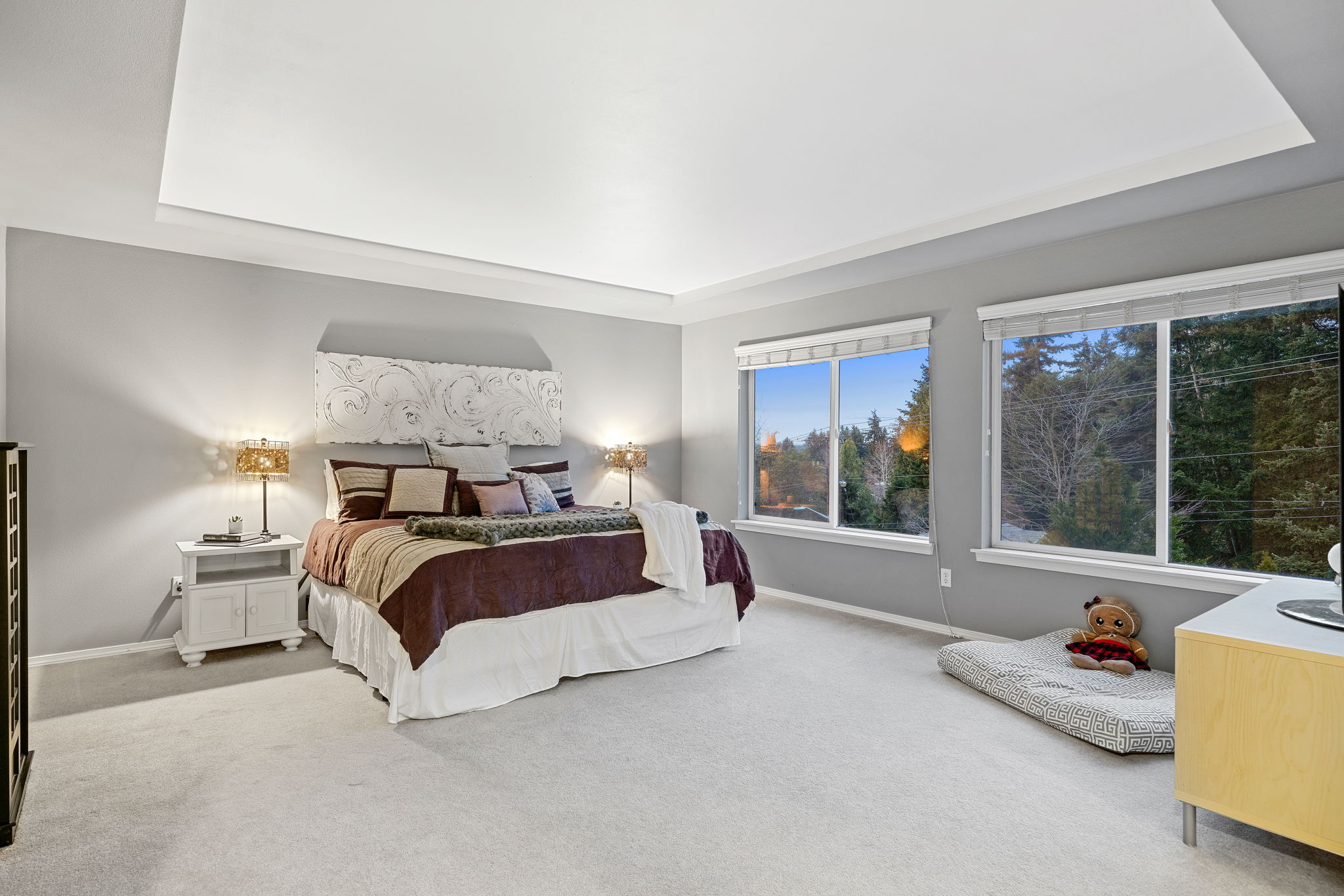 The master bedroom is oversized allowing lots of furniture placement options!