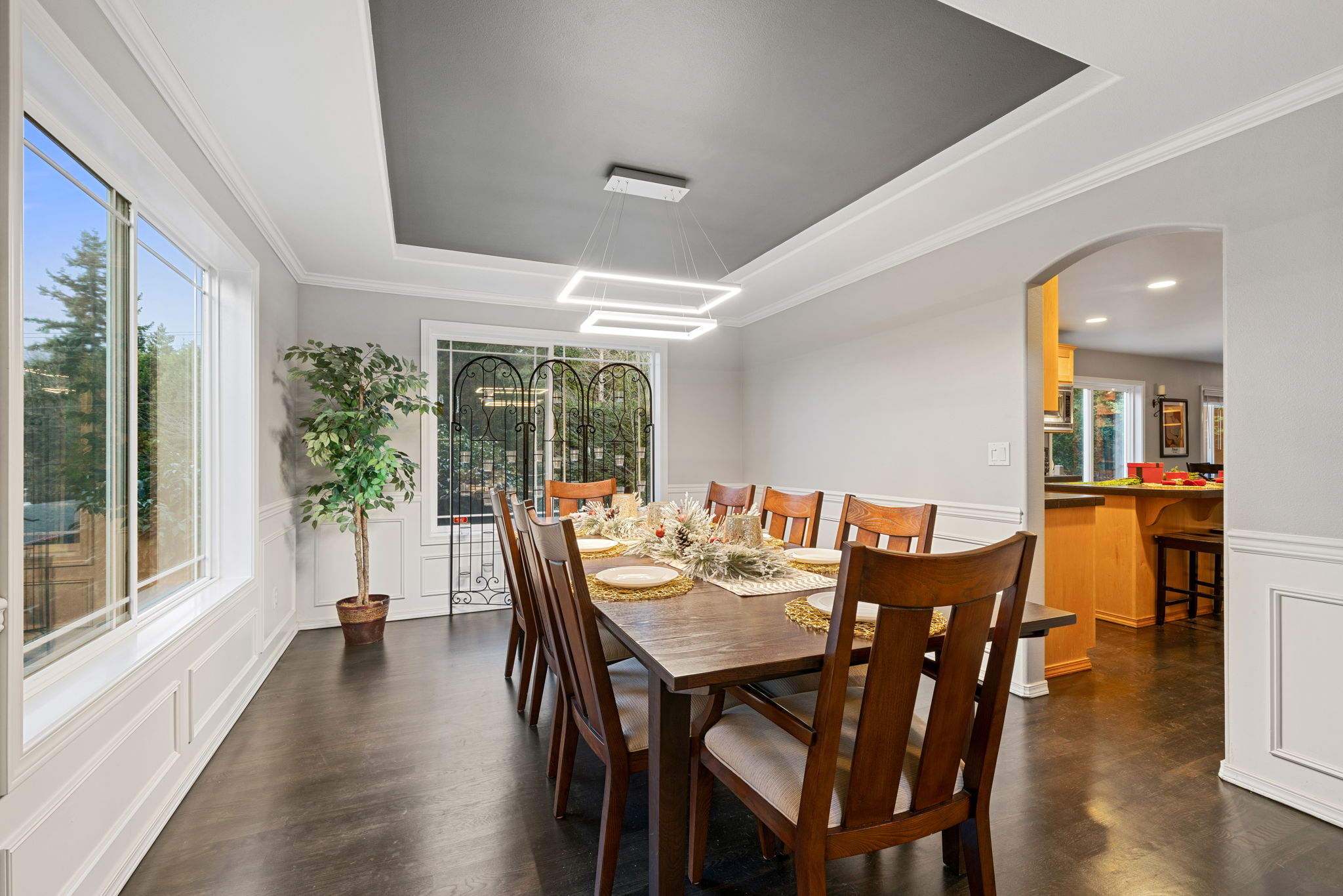Large dining room with kitchen pass through