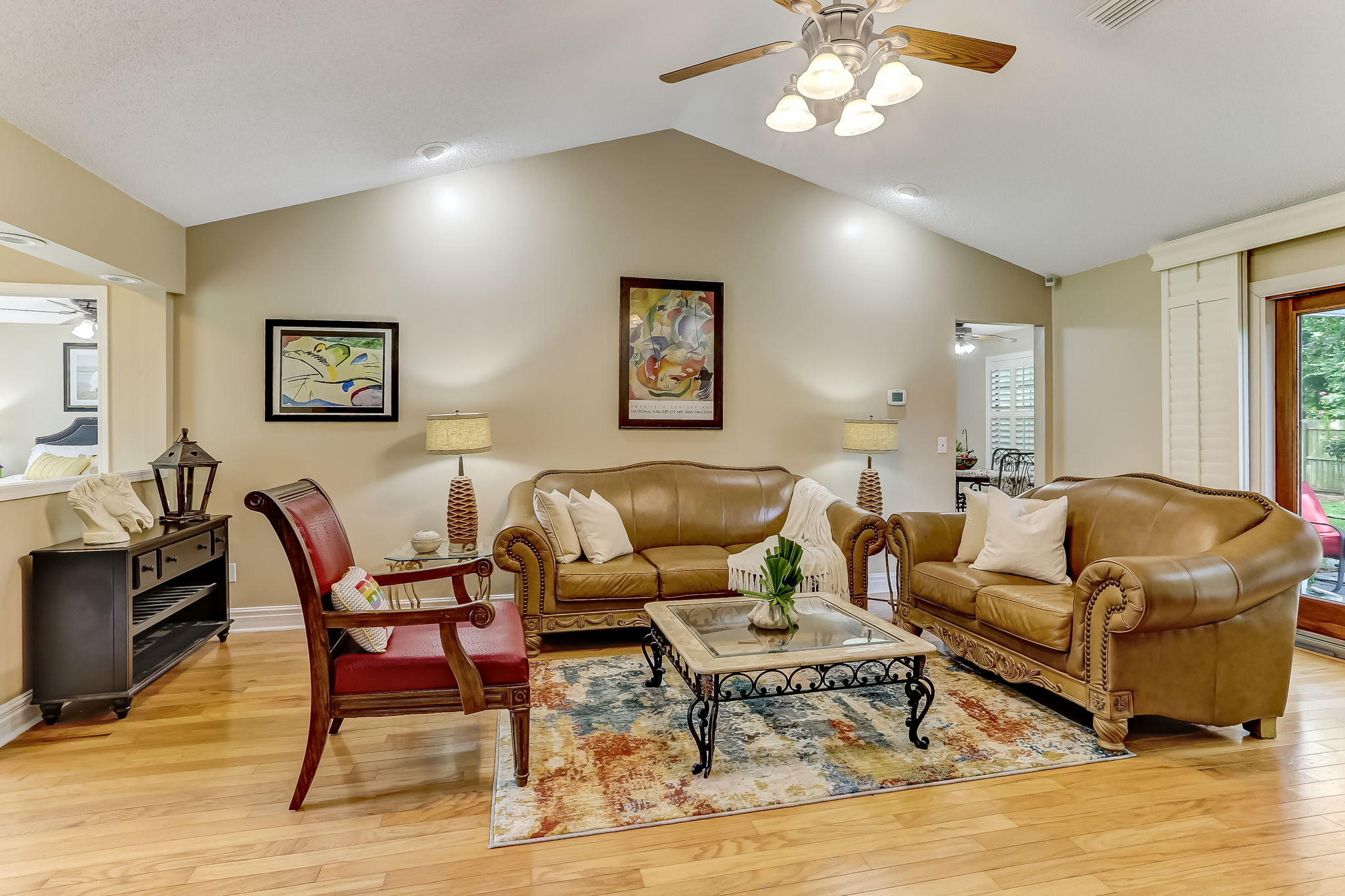Vaulted ceilings and tons of natural light make for a spacious, bright feel