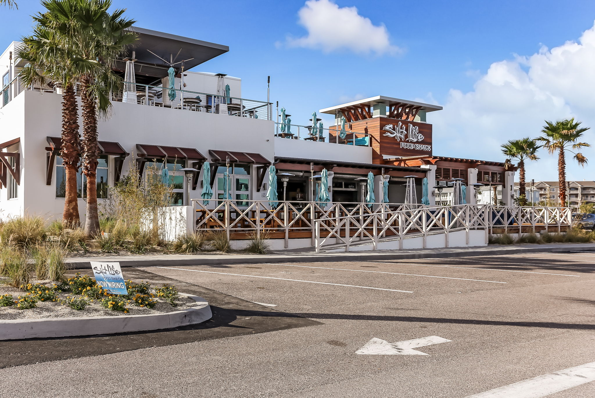 Open air beach front dining and entertainment is close by