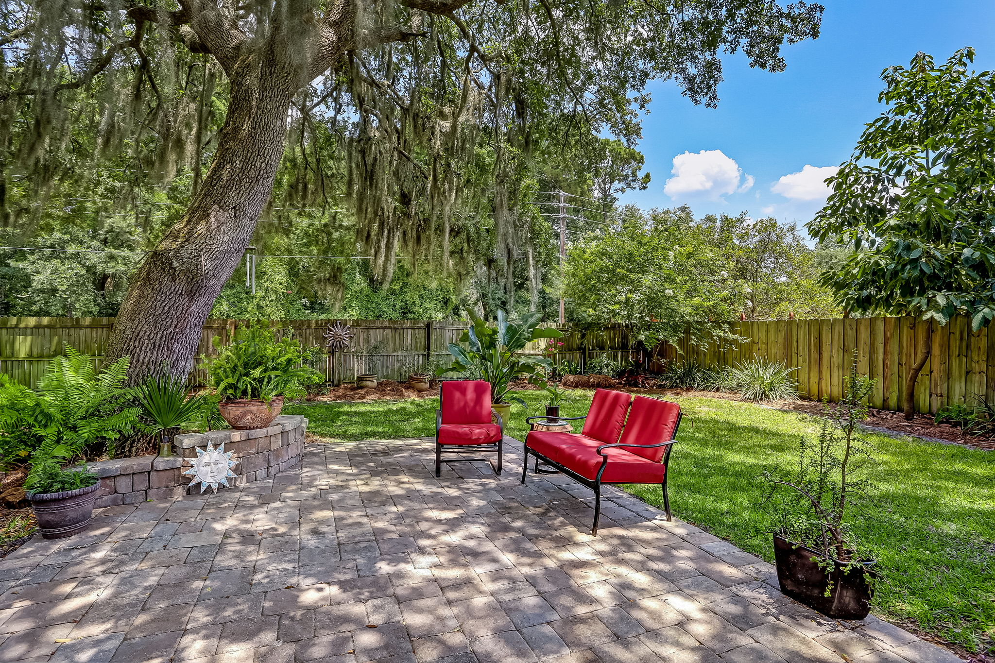 Backyard fenced for privacy and furry friends